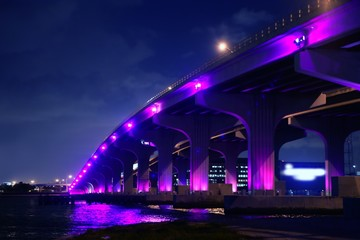 Miami florida bridge night view A1A