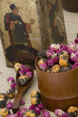 Flowers for Tea with Antique Box