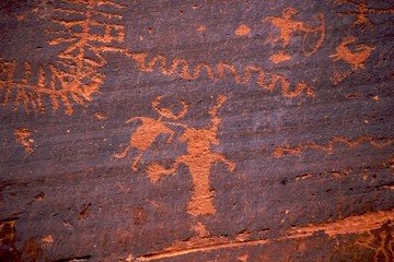 Petroglyphs showing human figures, Potash Road, Moab