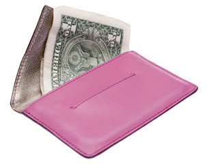 Pink Caluclator with Money Filled Wallet