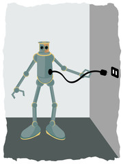 Robot plugging into wall socket