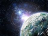 planette dans galaxie poster