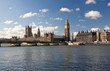 The Big Ben , the Houses of Parliament and Westminster Bridge in