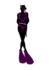 African American Scuba Diving Illustration Silhouette