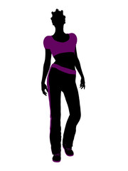 African American Female Workout Silhouette