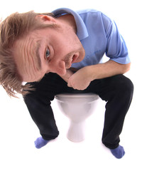 man and the toilet