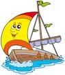 Cartoon yacht