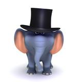 3D Gentleman Elephant poster