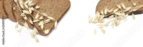 Bread and oats isolated on white