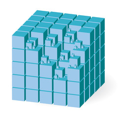 Blue construction set of cubes, vector illustration