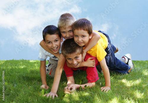 Children on the grass