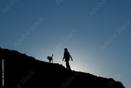 Silhouette of one woman on a mountian