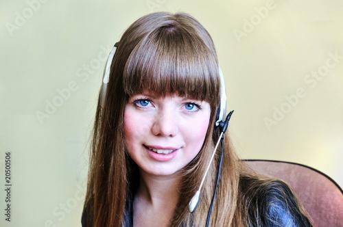 smiling blue-eyed girl operator