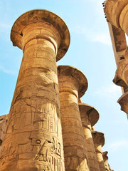 Grandiose colonnade of hypostyle hall in Karnak Temple