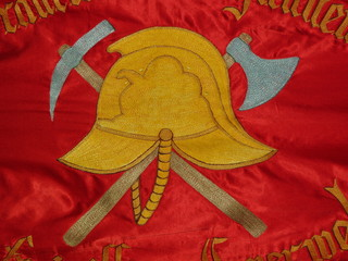 Detail of old fire brigade's flag