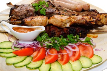 grilled meat with vegetables