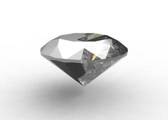 Abstract half diamond half ceramic round gemstone