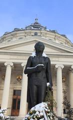 George Enescu statue during winter
