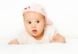Portrait baby girl wearing pink hat