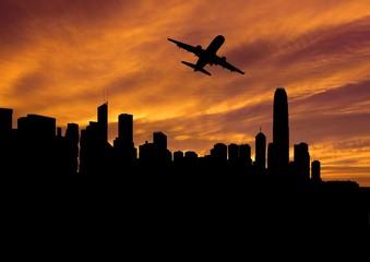 plane departing Hong Kong at sunset illustration