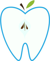 Symbol of a tooth in the form of an apple.