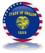 Oregon State Round Flag Button (USA America Vector Reflection)