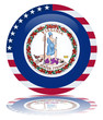 Virginia Round Flag Button (Virginian State USA America Vector)