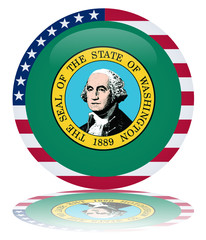 Washington Round Flag Button (Washingtonian State USA Vector)