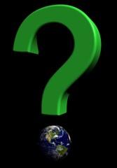 Point d'interrogation vert sur terre