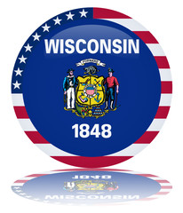 Wisconsin Round Flag Button (Wisconsinite State USA Vector Web)