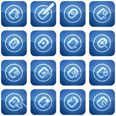 Cobalt Square 2D Icons Set: Computer File Types