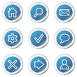 Basic web icons, blue sticker series