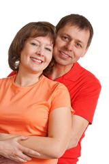 emracing couple portrait