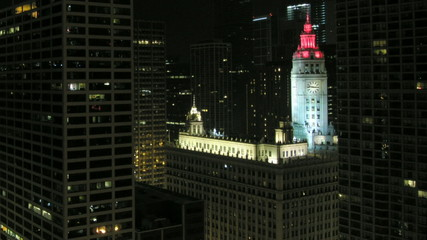 Chicago night time-lapse with clock-tower