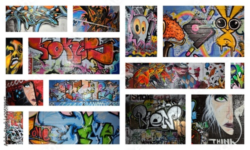 Staande foto Graffiti collage think