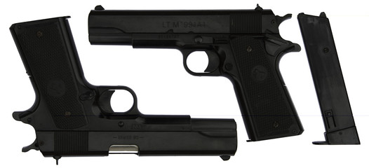Black Handgun with false brand name (2sides) isolated on white