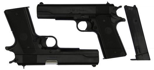 Black Handgun with false brand name (2sides) isolated on white