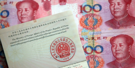 China passport and currency