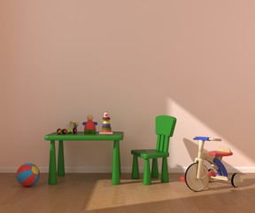 Children's room with wood bicycle.