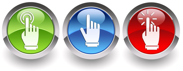 ''Select-Pointing-Click'' glossy icons