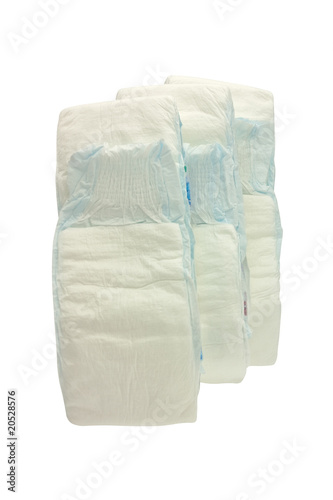 Disposable baby diaper isolated on white background