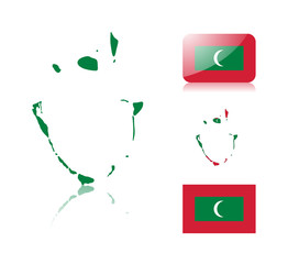 Maldives map and flags