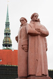Latvian Riflemen monument. Riga, Latvia poster