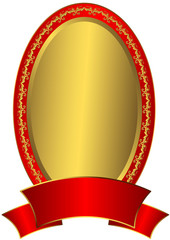 Gold  Easter frame with red ribbon