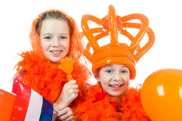 two girls are posing in orange outfit over white background