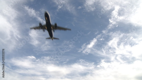 Passenger jetliner landing in airport