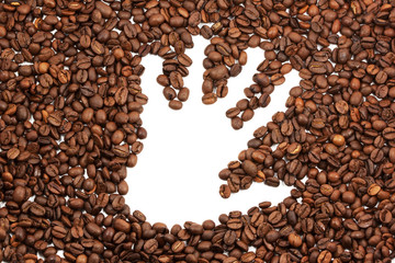Hand trace on coffee beans