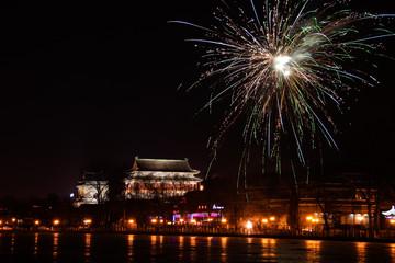 北京鼓楼春节夜景