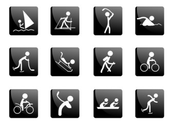 Collection of black glossy sport icons, vector illustration