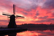 Dutch windmill at sunset